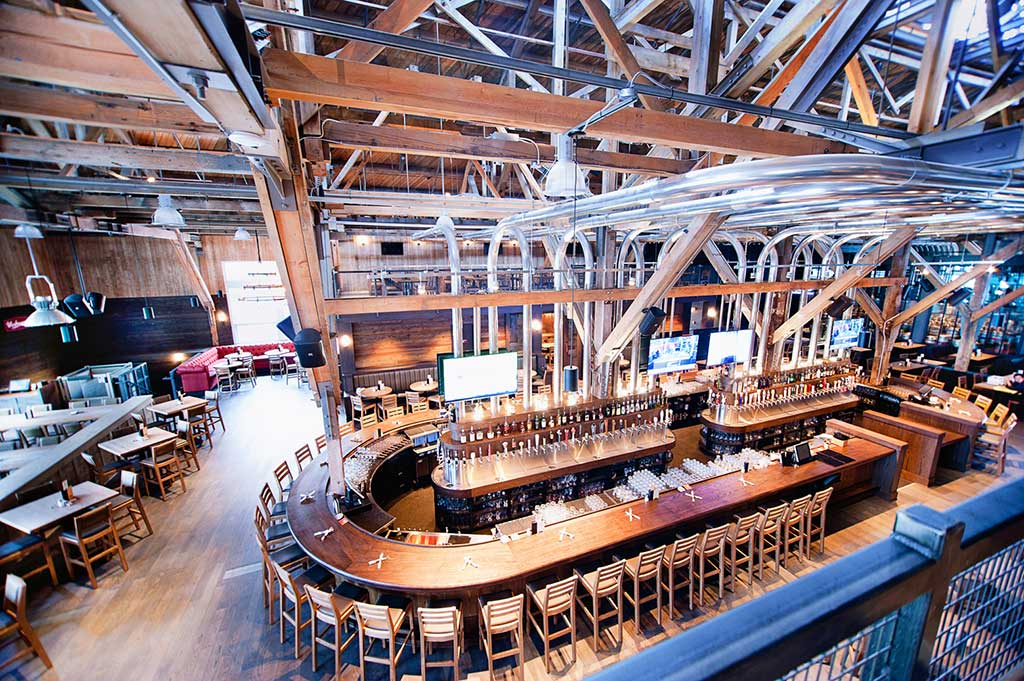 A view from teh top of Central Oval Bar at Craft Beer Market Restaurant in Vancouver, BC