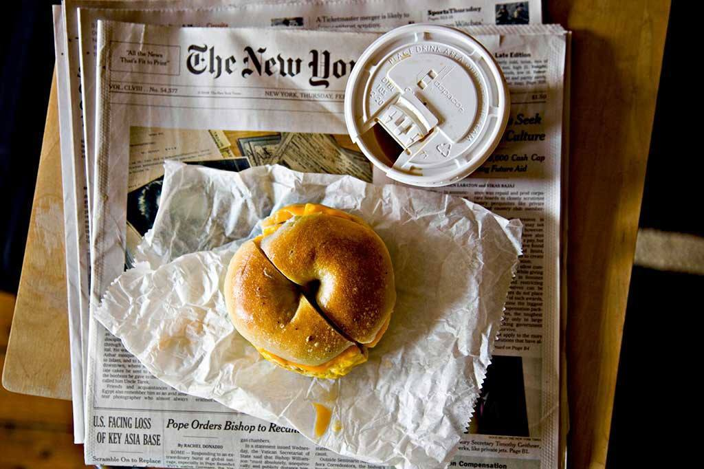 Bagel, Coffee, and The New York Times