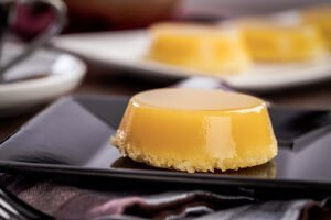 Quindim, a Brazilian dessert made with eggs and coconut.