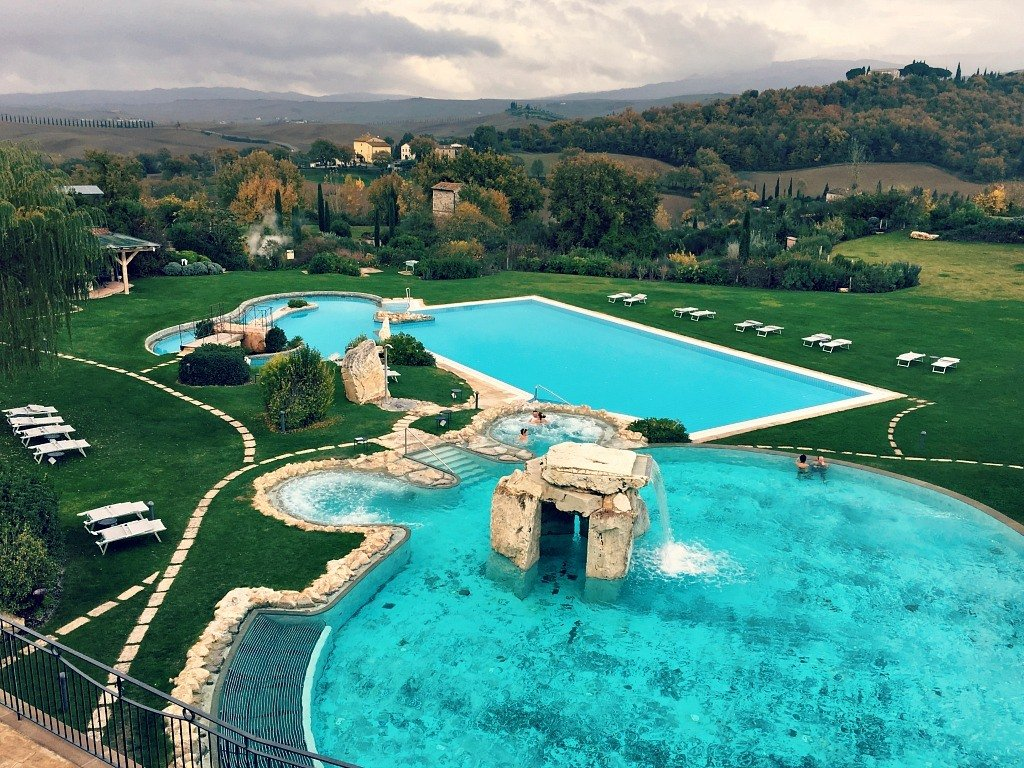 thermal pools at the Adler Thermae in Bagno Vignoni, Italy