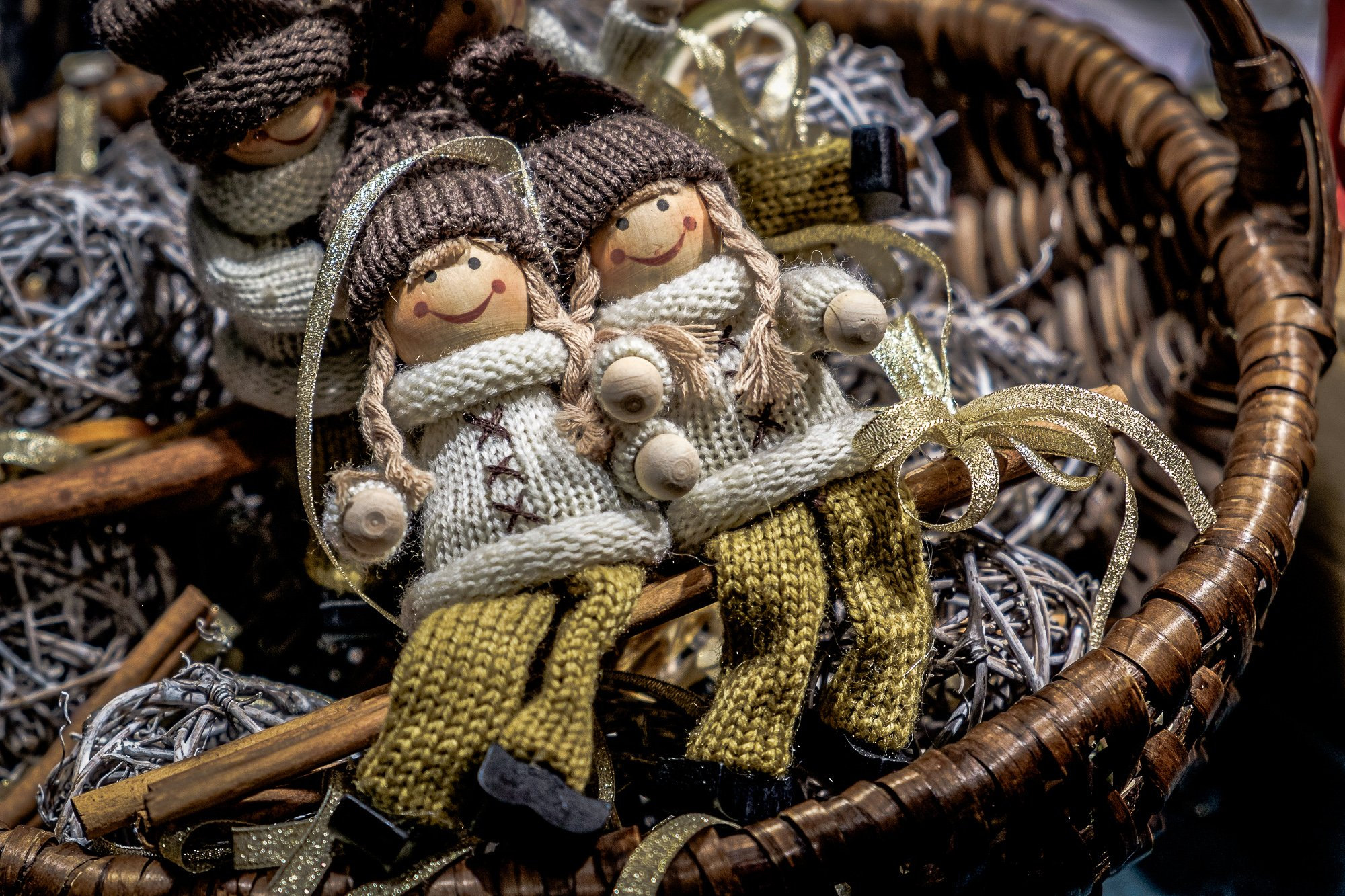 Traditional Christmas dolls in sweaters sold at the Vienna Christmas Markets 2018