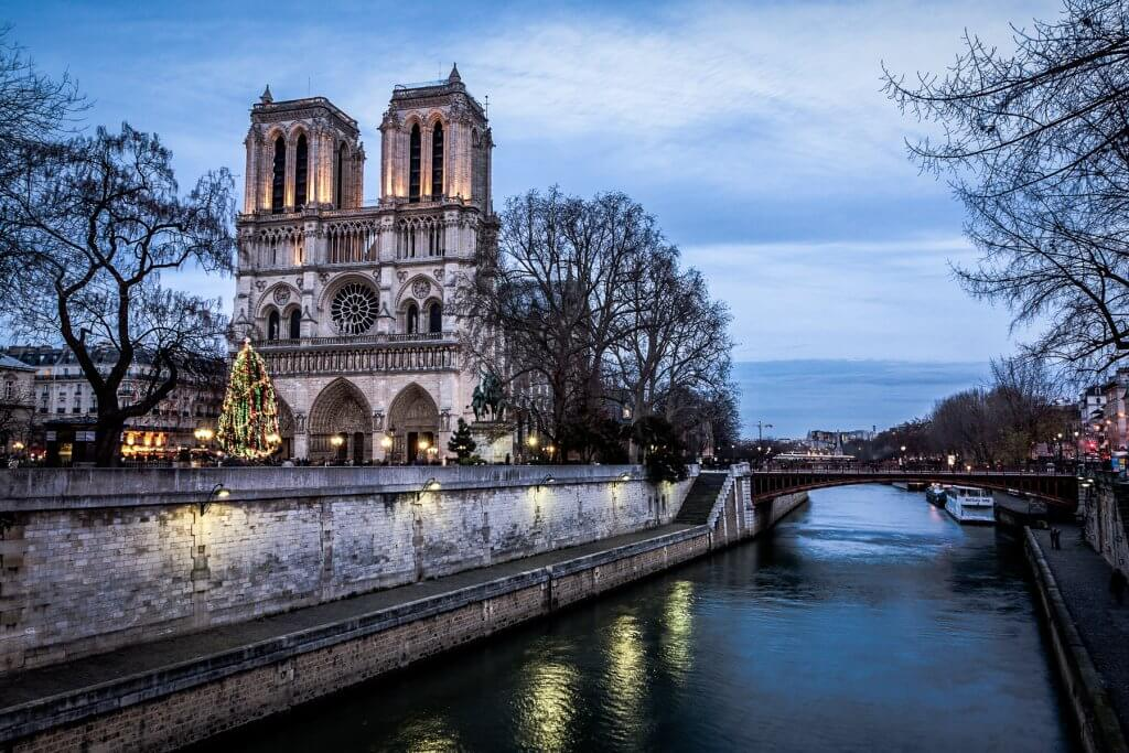 Notre Dame de Paris in winter at dusk, France.
