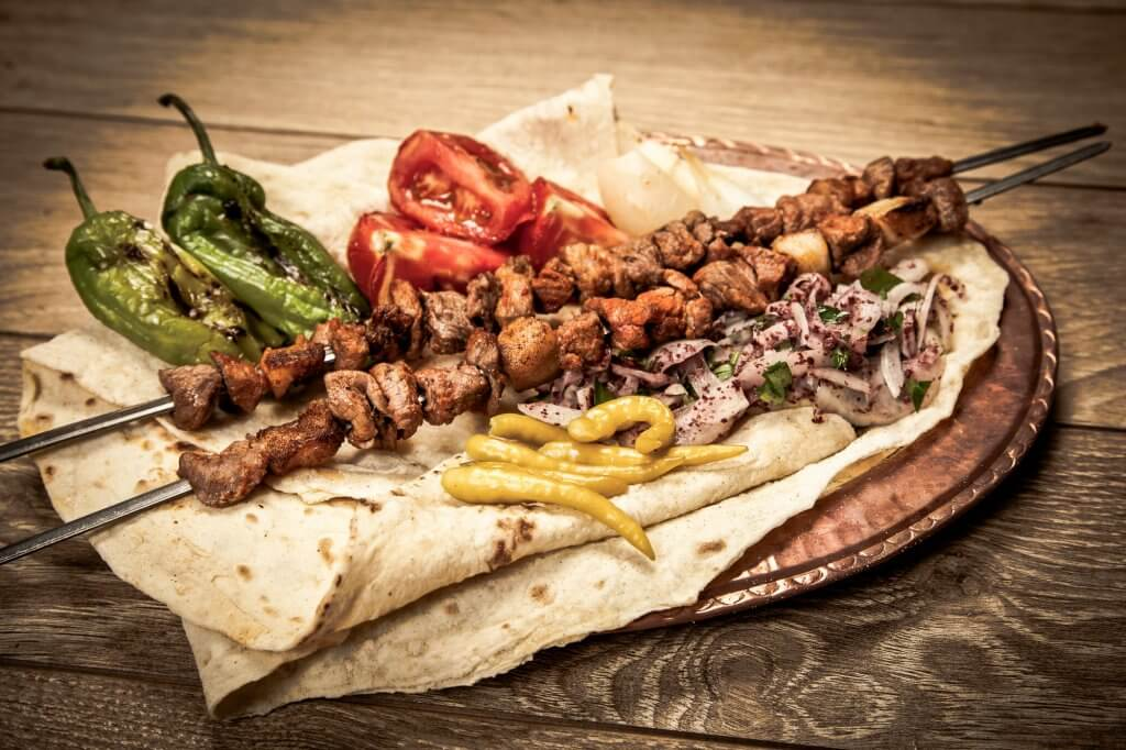 Popular Middle Eastern food: Turkish sis kebab