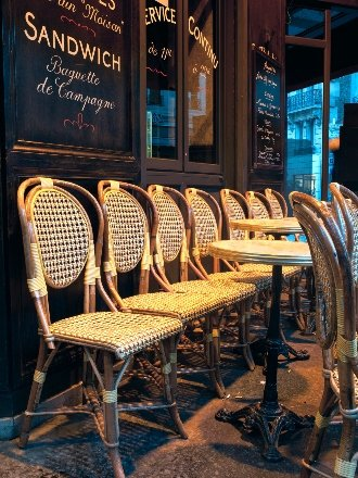 Empty cafe chairs