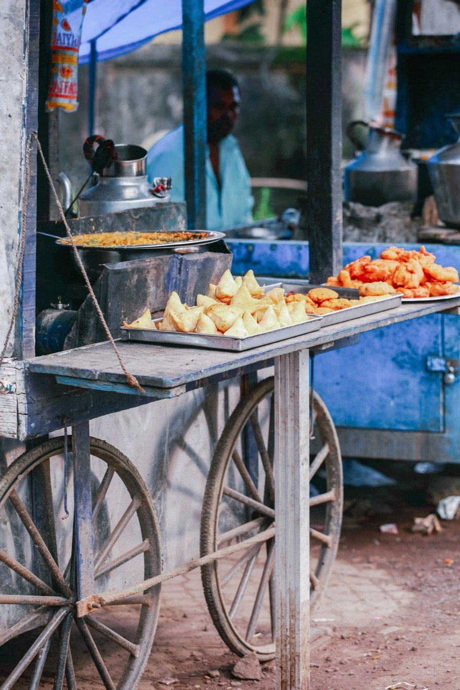 Street Foods in India being sold from a cart