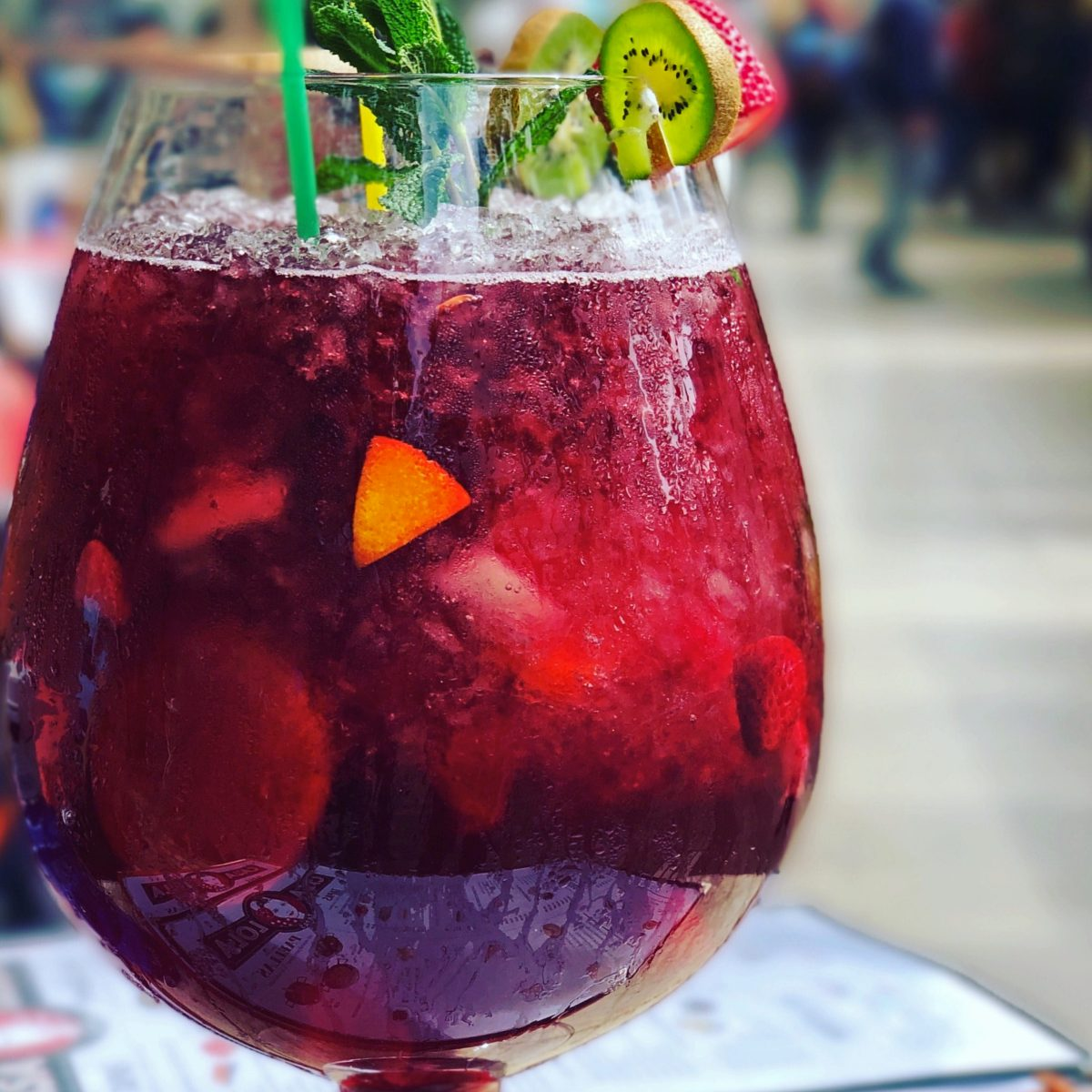 close up of a glass of red sangria